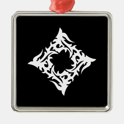 Tribal blanco negro clásico elegante simple fresco adorno cuadrado plateado