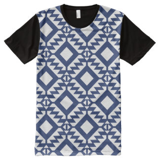 Tribal blue and white geometric All-Over-Print T-Shirt