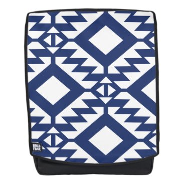 Aztec Themed Tribal blue and white geometric backpack