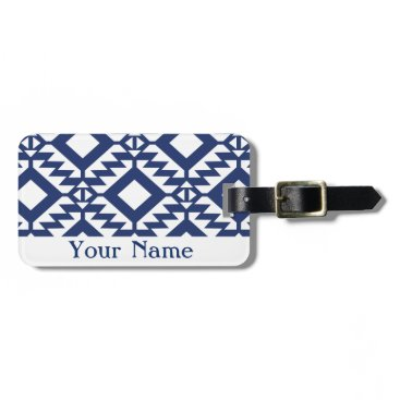 Aztec Themed Tribal blue and white geometric bag tag