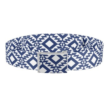 Aztec Themed Tribal blue and white geometric belt