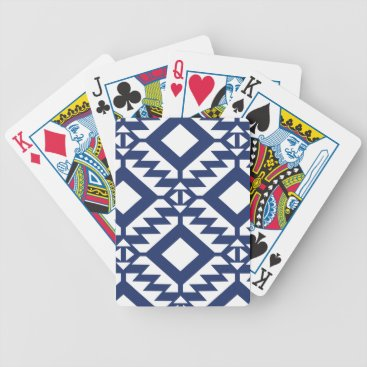 Aztec Themed Tribal blue and white geometric bicycle playing cards