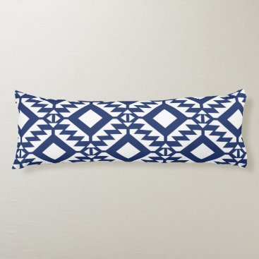 Aztec Themed Tribal blue and white geometric body pillow