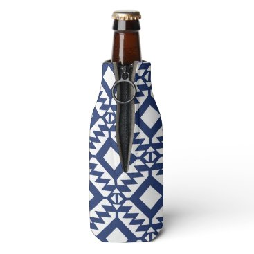 Aztec Themed Tribal blue and white geometric bottle cooler