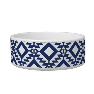 Aztec Themed Tribal blue and white geometric bowl