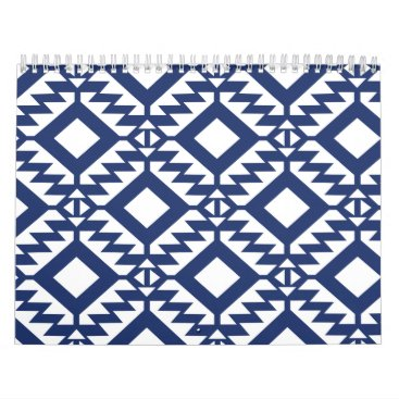 Aztec Themed Tribal blue and white geometric calendar