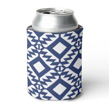 Aztec Themed Tribal blue and white geometric can cooler
