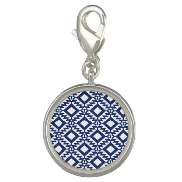 Aztec Themed Tribal blue and white geometric charm