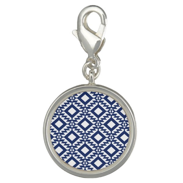 Tribal blue and white geometric charm