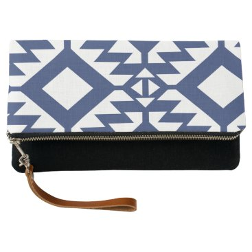 Aztec Themed Tribal blue and white geometric clutch