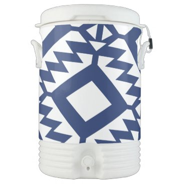 Aztec Themed Tribal blue and white geometric cooler