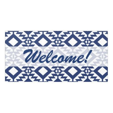 Aztec Themed Tribal blue and white geometric door sign