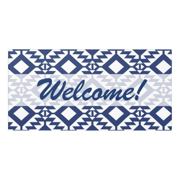 Tribal blue and white geometric door sign