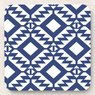 Aztec Themed Tribal blue and white geometric drink coaster