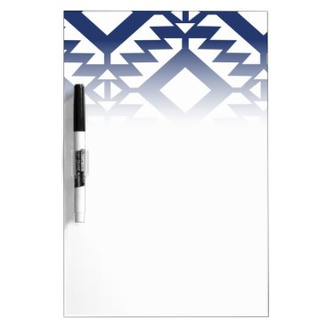 Aztec Themed Tribal blue and white geometric dry erase board