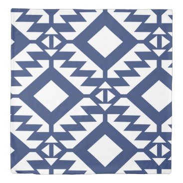Aztec Themed Tribal blue and white geometric duvet cover