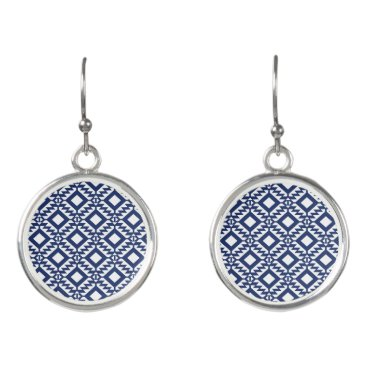 Aztec Themed Tribal blue and white geometric earrings