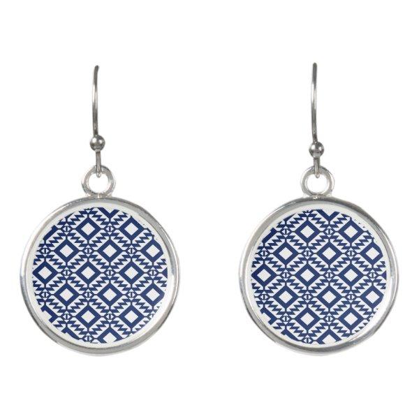 Tribal blue and white geometric earrings