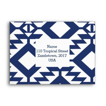 Aztec Themed Tribal blue and white geometric envelope