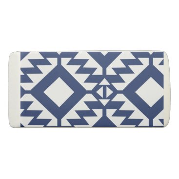 Aztec Themed Tribal blue and white geometric eraser