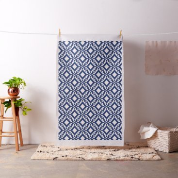 Aztec Themed Tribal blue and white geometric fabric