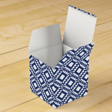Aztec Themed Tribal blue and white geometric favor box