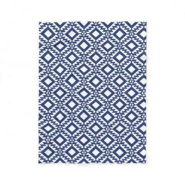 Aztec Themed Tribal blue and white geometric fleece blanket