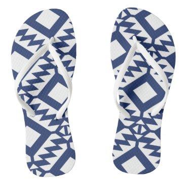 Aztec Themed Tribal blue and white geometric flip flops