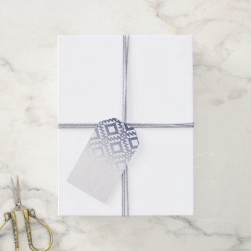 Aztec Themed Tribal blue and white geometric gift tags