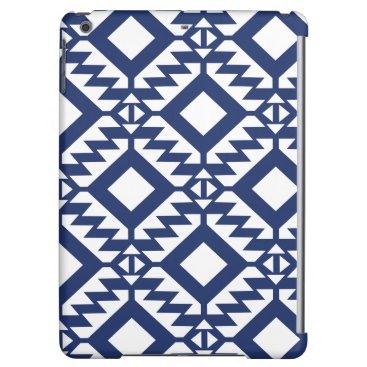 Aztec Themed Tribal blue and white geometric iPad air case