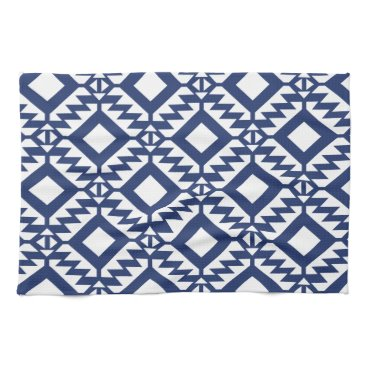 Aztec Themed Tribal blue and white geometric kitchen towel