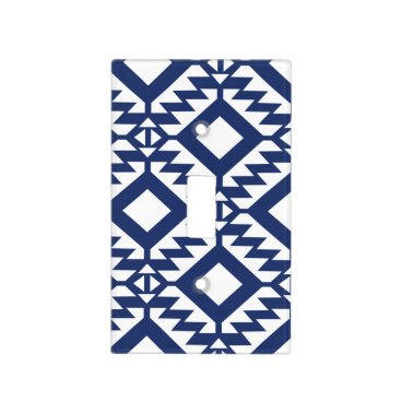Aztec Themed Tribal blue and white geometric light switch cover