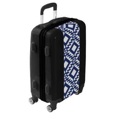Aztec Themed Tribal blue and white geometric luggage
