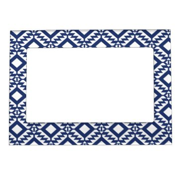 Aztec Themed Tribal blue and white geometric magnetic photo frame