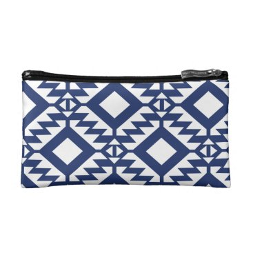 Aztec Themed Tribal blue and white geometric makeup bag