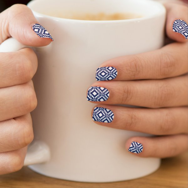 Tribal blue and white geometric minx nail wraps