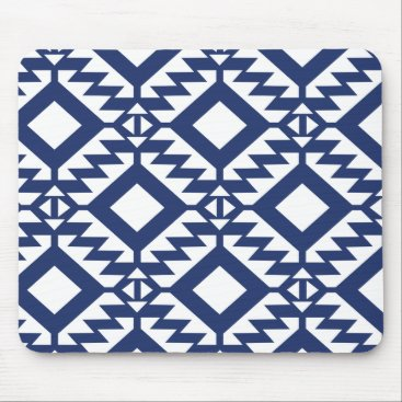Aztec Themed Tribal blue and white geometric mouse pad