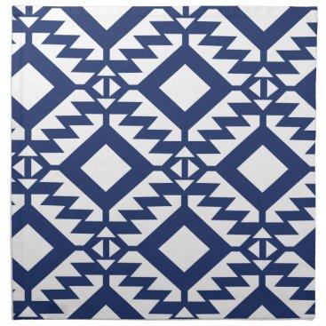 Aztec Themed Tribal blue and white geometric napkin