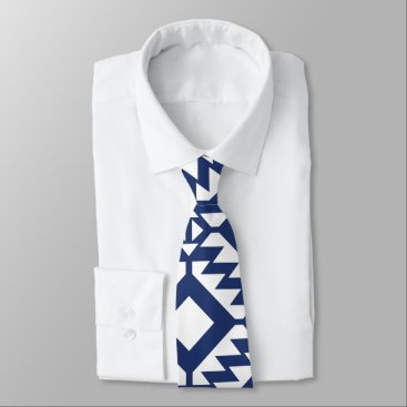 Aztec Themed Tribal blue and white geometric neck tie