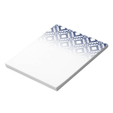 Aztec Themed Tribal blue and white geometric notepad