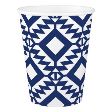Aztec Themed Tribal blue and white geometric paper cup