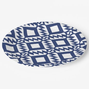 Aztec Themed Tribal blue and white geometric paper plate