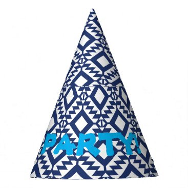 Aztec Themed Tribal blue and white geometric party hat
