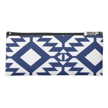 Aztec Themed Tribal blue and white geometric pencil case