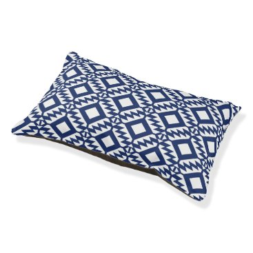 Aztec Themed Tribal blue and white geometric pet bed
