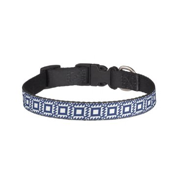 Aztec Themed Tribal blue and white geometric pet collar
