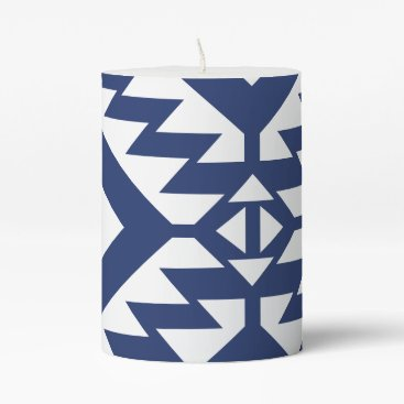 Aztec Themed Tribal blue and white geometric pillar candle