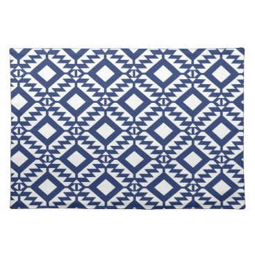 Aztec Themed Tribal blue and white geometric placemat