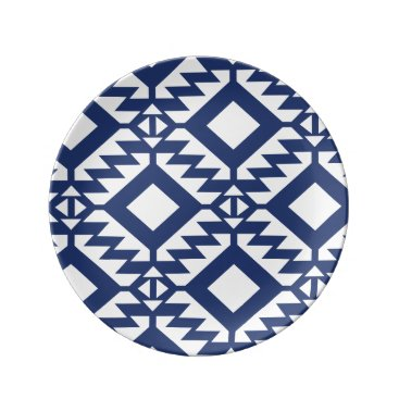 Aztec Themed Tribal blue and white geometric plate