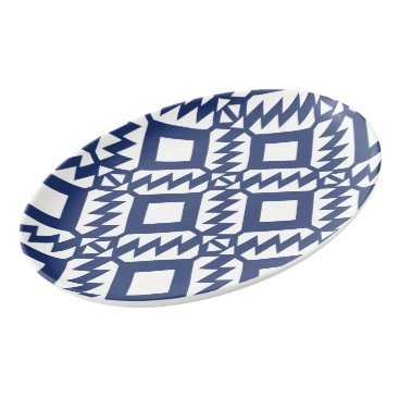 Aztec Themed Tribal blue and white geometric porcelain serving platter